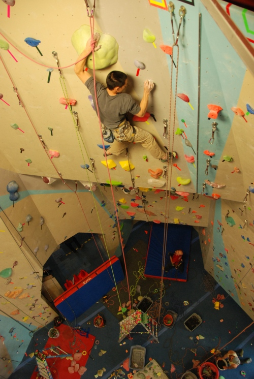 Ho in the process of climbing nearly every route while setting.