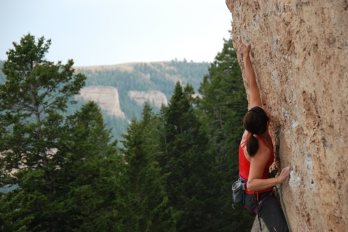 Leslie on Happiness in Slavery 5.12b @ Ten Sleep, WY