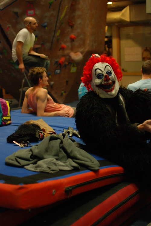 There was a creepy clown gorilla.